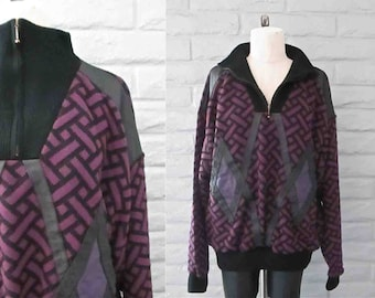 Vintage 1990's sweater oversized LEATHER PATCHED mock neck knit - L