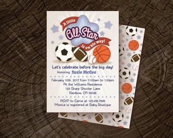 Baby Shower Invitation DIY baby shower invitation Sports