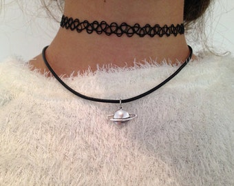 Cute Saturn Necklace Tumblr Style