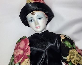Pierrot Style Clown Doll Floral Outfit, Gold Painted Shoes, Pointy Hat