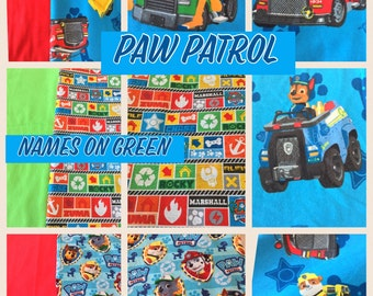 Toddler or Crib Blanket, Paw Patrol, Pup Power, 41x52 quilt, 4 prints to choose from, all cotton, Chase, Marshall, Zumba, Rocky, Rubble