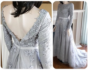 Grey Wedding Gown, Long Sleeves Lace Wedding Dress, Low Back Wedding Dress - Beaded Lace, Sheer Bodice