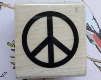 Peace Sign Wood Mounted Rubber Stamp Scrapbooking & Paper Craft Supplies