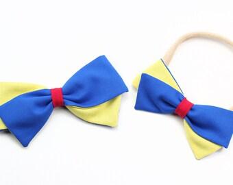 Snow White Bow - Disney Princess bows - Nylon headband, clip or barrette.
