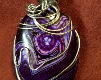 Purple Dragon Vein Agate in Stainless Steel