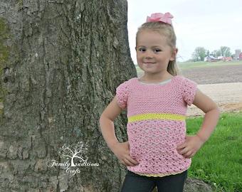 Instant Download- Crochet Pattern- Children's Primrose Blouse
