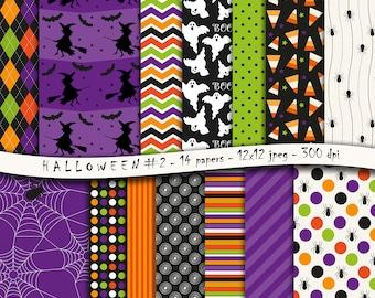 Halloween No. 2 digital scrapbooking paper pack - 14 printable jpeg papers, 12x12, 300 dpi - instant download