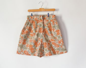 "Linen Shorts Floral High Waist pleated Safari Shorts Belted New with Tags Best Arizona 28/30"" waist Elastic Waist Shorts 80's Era"