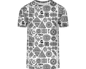 Yoga Shirt Black and White Print Festival Clothing Boho Shirt Yoga Clothing Inspired Shirt Yoga TShirt Street Style Plus Size Clothes PA1251