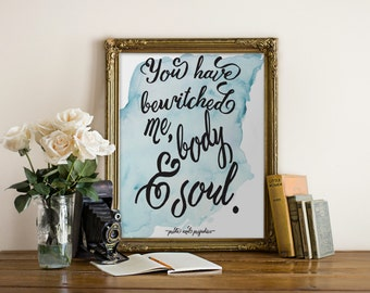 "Pride and Prejudice Quote, Mr. Darcy Quote, Jane Austen Quote, Book Quote, Typography Print, Love Quote, ""Print"""