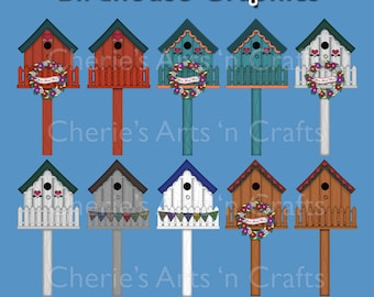 Birdhouses Clipart, Birdhouse Graphics, Prim Graphics, Country Folk Art Graphics, Birdhouse Clip Art
