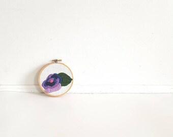 Vintage Purple Flower Crewel