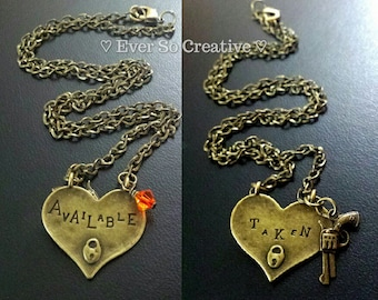 Available/Taken Antique Bronze Necklace