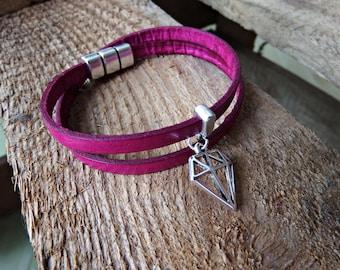 pink leather bracelet, leather wrap bracelet with a silver slide bead, charm diamond, leather bracelet, with a silver magnetic clasp