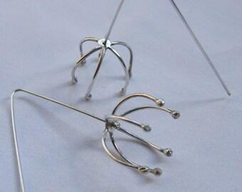 """Silver wire earrings """"daddy-long-legs"""""""