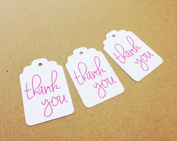 "Thank You Tags - White + Hot Pink - Hang Tags, Gift Tags - 2.25"" x 1.5"" - Wedding, Bridal Shower, Baby Shower, Bachelorette, Favor Tags"
