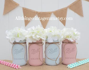 Gender Reveal Mason Jars, Grace and Frankie inspired Mason jars, Baby Shower, Mason Jar Decor,Rustic Baby Shower,Pink and Blue Mason Jars