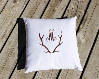 Personalized Antler Silhouette Pillow Cover for Cabin or Cottage,Decorator Pillow Cover,Home Decor,Cabin Decor,Cushions,Cushion