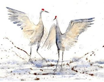 Crane Dance Greeting and Note Card