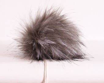 Silver Fox Faux Fur Pompom. Grey Faux Fur Pompom.  Faux Fur Pompoms. Fur Pom Poms for Hats. Faux For Fur Pompoms.