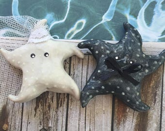 Bride and Groom Groom and Groom or Brige and Bride Starfish Wedding Couple Cake Topper Set of Two Choose your Couple