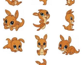 Baby Kangaroo Embroidery Design Zip File Download