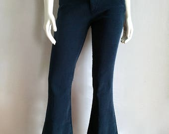 Vintage Women's 70's Navy Blue, Corduroy Pants, Low Waisted, Flare Leg (M)