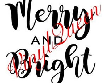 Merry and Bright Vinyl Decal Quote Christmas Shadow Light Glass Box Frame Festive Gift Baubles