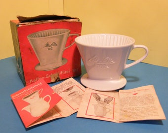 Vintage Ceramic 'Melitta' 102 Coffee Filter with Original Box