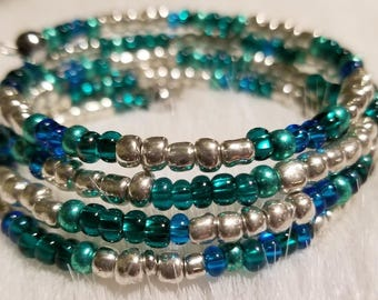 Silver and Teal bracelet
