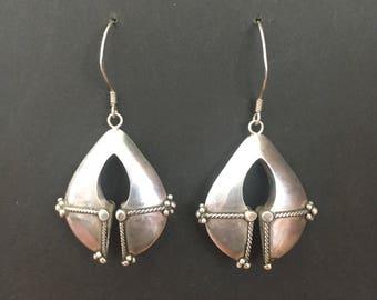 Beautiful Bohemian Sterling Silver Dangly Earrings