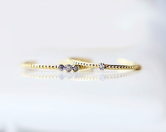 14K Gold with Diamond Midi Ring //  knuckle rings, Cute real gold  knuckle ring with small diamond // gold stacking ring