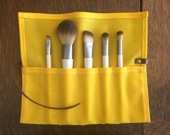 Waxed canvas makeup brush roll travel roll waxed cotton