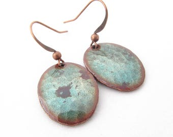 Patina Green Hammered Oval Earrings