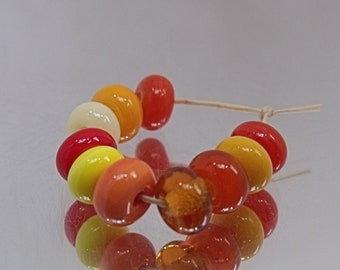 Harvest Mix, Lampwork Spacer Beads, SRA, UK