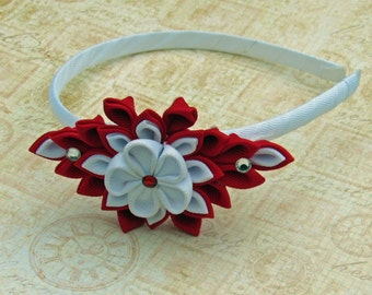 Red and White KAnzashi Flower Headband