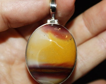 Mucaite Jasper Pendant, Oval Yellow Stone in Silver, Desert Jewelry, Gift to Mom from Son