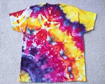 Tie Dye Ice Dye Mandala Adult Large Hippie Festival T-shirt - Leprechaun's Fantasy
