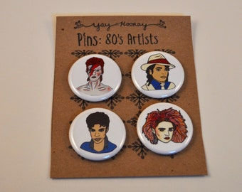80's Pop Singers , pin button badges, magnets hand drawn illustrations, madonna, david bowie, prince, michael jackson