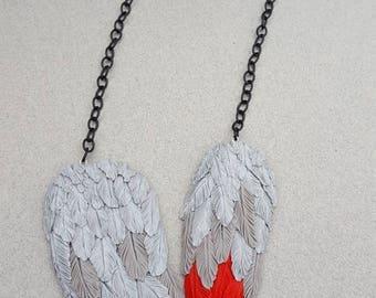 African Grey Parrot Pet Feather Necklace Handmade Pet Memorial Jewelry