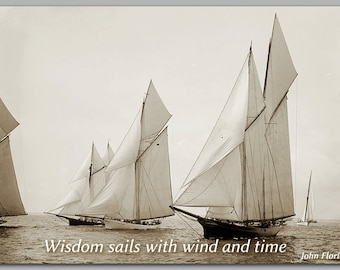 GRADUATION CARD - Sailing Quote - Nautical  Historic Photograph - Available as a Print with a Free Mat or a Quote Block (CPIC2013038)