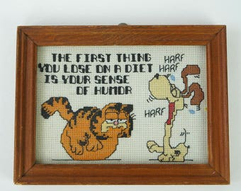 Vintage Garfield Cross Stitch Framed, the first thing you lose on a diet is your sense of humor