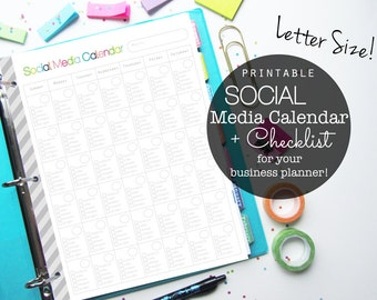 Social Media Planner, Printable Inserts, Small Business Planner, Etsy Shop, Social Media Marketing, Letter Size, Happy Planner, Discbound
