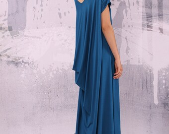 Kaftan dresses, Caftan dress, Blue maxi dress, plus size clothing, plus size dress, asymmetrical dress, floor length dress, long dress, 043