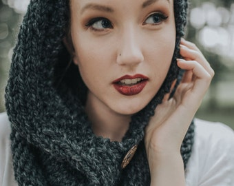 Knit Hooded Cowl, Infinity Scarf with Hood, Winter Hooded Cowl, Handmade Knitted Chunky Wool Hooded Cowl / / THE TUNDRA - Charcoal