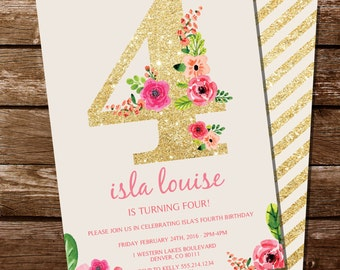 Fourth Birthday Invitation - Gold Glitter Floral Watercolor Birthday Invitation - Instant Download and Edit at home with Adobe Reader