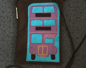 Purple Triple Decker Bus-Cross Body Zipper Pouch