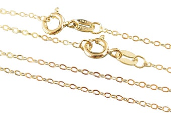 Gold Necklace Chain-22K Gold Plated Chain, Vermeil Chain,Sterling silver Chain,Necklace-Cable Flat Oval - 30 inches (1 pc) SKU: 601043-VM-30