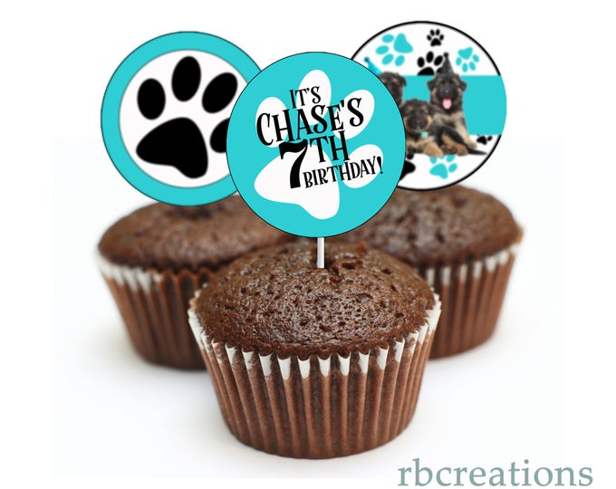 Puppy Party Cupcake Toppers, Dog Party, Puppy Birthday, Party Animal Party, German Shepard Party - Digital Printable