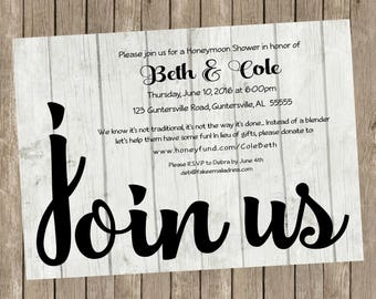 Join Us, Printable Honeymoon Shower Party Invitations, 5x7, Customizable